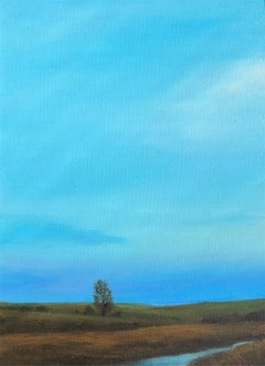Tree and Stream, Serene Landscape with Vast Blue Sky and Single Tree, Framed