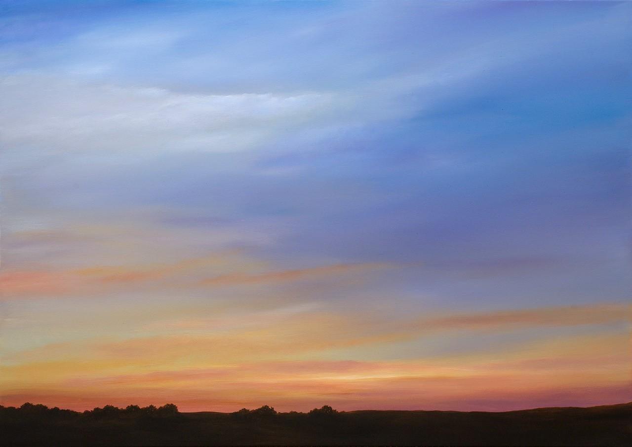 Twilight South of Hayward - Original Oil Painting w/ Dramatic Sunset, Landscape