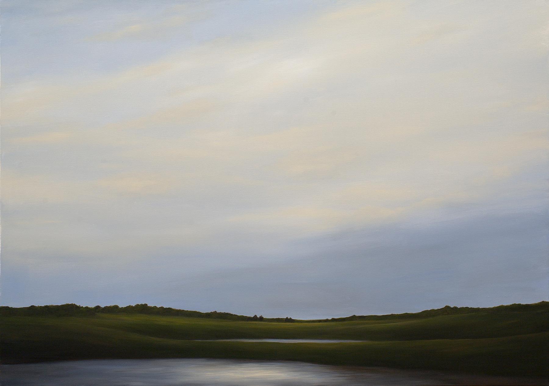 """Two Ponds"", Acrylic, Landscape, Painting, Canvas, Walnut Frame"