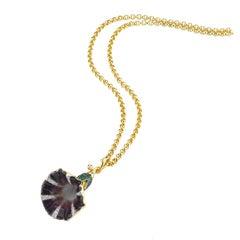 Aida Bergsen 18 Karat Gold Diamond Garnet and Enamel Violet Convolvulus Pendant