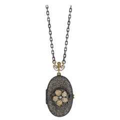 Aida Bergsen 18 Karat Gold Diamond Garnet and Ruby Sunset Lumen Locket