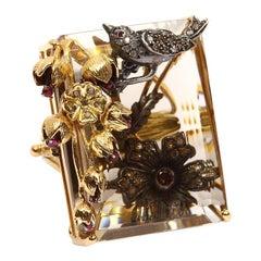 Aida Bergsen 18 Karat Gold Diamond Sapphire Quartz Dove by the Window Ring
