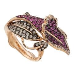 Aida Bergsen 18 Karat Rose Gold Diamond and Pink Sapphire Pink Campanula Ring