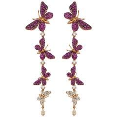 Aida Bergsen 18 Karat Rose Gold, Pink Sapphire and Diamond Long Flutter Earrings