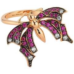 Aida Bergsen 18 Karat Rose Gold Round Cut Diamonds and Pink Sapphires Goth Ring