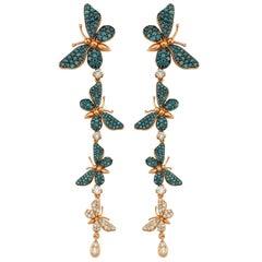 Aida Bergsen 18 Karat Rose Gold, White and Blue Diamond Long Flutter Earrings