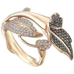Aida Bergsen 18 Karat Rose Gold White and Cognac Diamond Campanula Ring