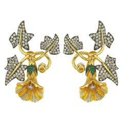 Aida Bergsen 18 Karat Yellow Gold Diamond and Garnet Belle Ivy Earring
