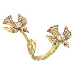Aida Bergsen 18 Karat Yellow Gold Diamond and Ruby Duo Flock Ring