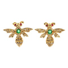 Aida Bergsen 18 Karat Yellow Gold Diamond Emerald Ruby Wasp Stud Earrings
