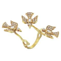 Aida Bergsen 18 Karat Yellow Gold Diamond and Ruby Trio Flock Ring
