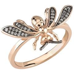 Aida Bergsen Rose Gold and Round Cut Diamond Wasp Ring