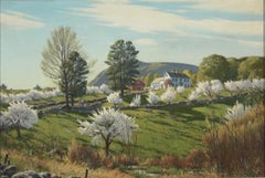 """""""Spring Pastoral Landscape,"""" A. Lassell Ripley, New England Farm with Blossoms"""