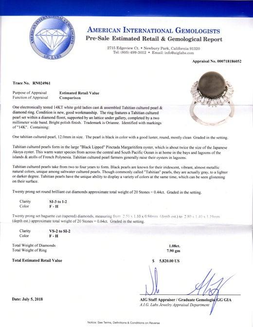 AIG Certified Tahitian Pearl and Diamond Ring