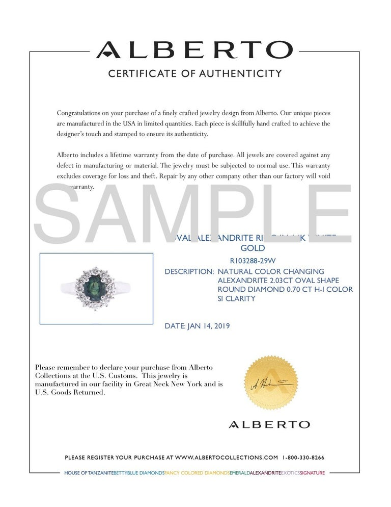 AIG Certified 2.03 Carat Oval Natural Color Changing Alexandrite Ring For Sale 5