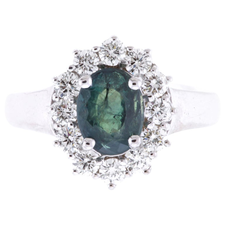 AIG Certified 2.03 Carat Oval Natural Color Changing Alexandrite Ring For Sale