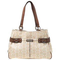 Aigner Beige/Brown Signature Coated Canvas and Leather Belted Tote
