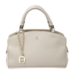 Aigner Beige Leather Small Satchel