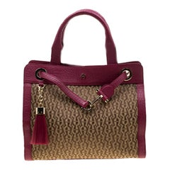 Aigner Beige/Magenta Canvas and Leather Cavallina Top Handle Bag