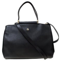 Aigner Black Leather and Suede Tote