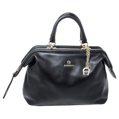 Aigner Black Leather Boston Bag