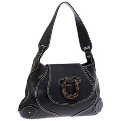Aigner Black Leather Flap Shoulder Bag