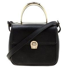 Aigner Black Leather Genoveva Top Handle Bag