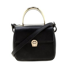 Aigner Black Leather Genoveva Top Handle Bag