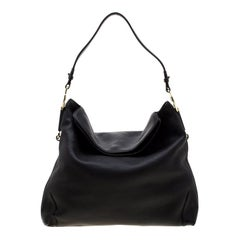 Aigner Black Leather Large Arya Hobo