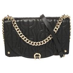 Aigner Black Quilted Leather Diadora Shoulder Bag