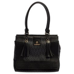 Aigner Black Signature Coated Canvas And Leather Tassel Top Handle Bag