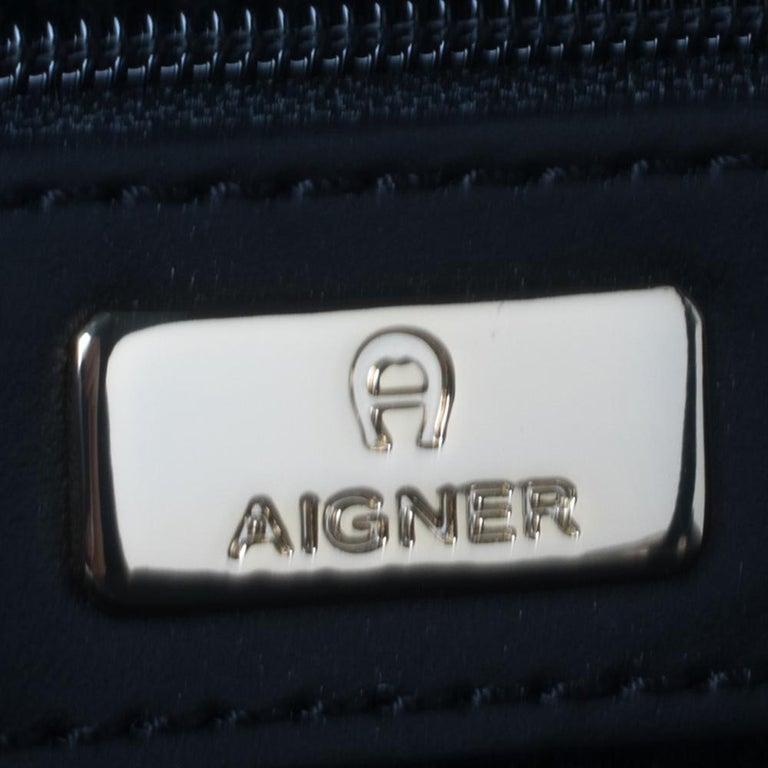 Aigner Black Signature Embossed Leather Cavallina Tote For Sale 6