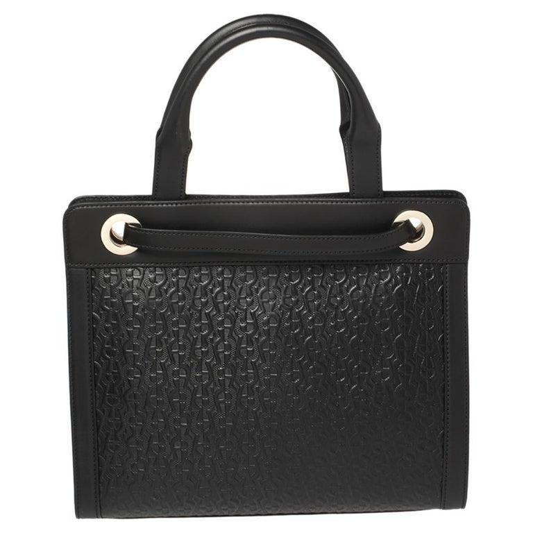 Women's Aigner Black Signature Embossed Leather Cavallina Tote For Sale