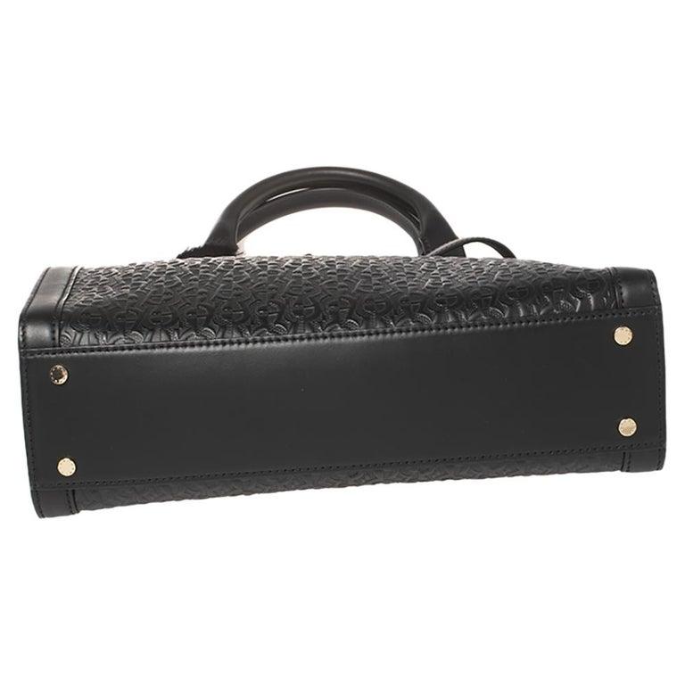 Aigner Black Signature Embossed Leather Cavallina Tote For Sale 1