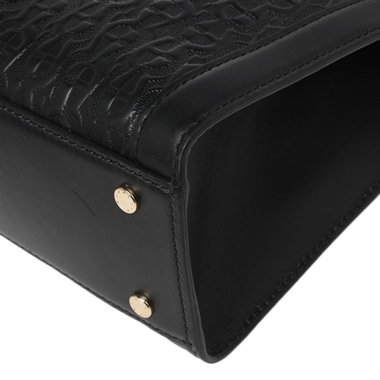 Aigner Black Signature Embossed Leather Cavallina Tote For Sale 2