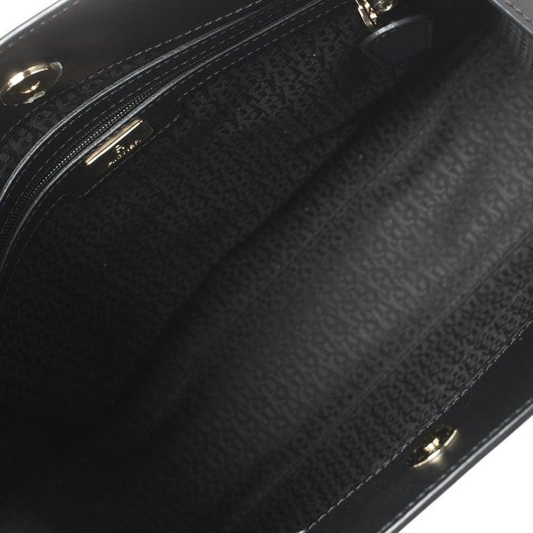 Aigner Black Signature Embossed Leather Cavallina Tote For Sale 3