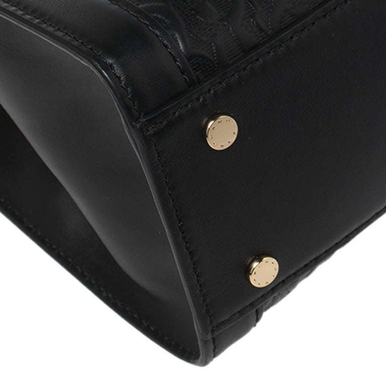 Aigner Black Signature Embossed Leather Cavallina Tote For Sale 5