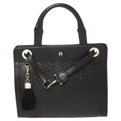 Aigner Black Signature Embossed Leather Cavallina Tote