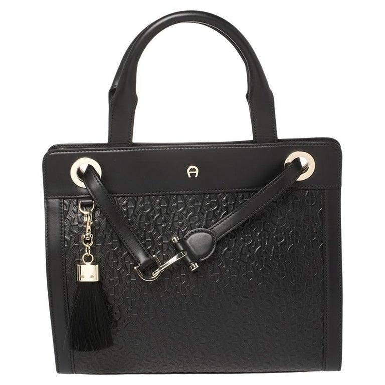 Aigner Black Signature Embossed Leather Cavallina Tote For Sale