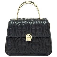 Aigner Black Signature Leather Genoveva Top Handle Bag