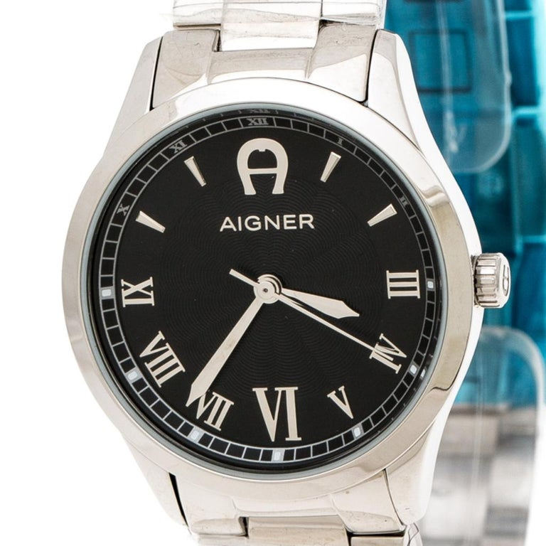 Aigner Black Stainless Steel Modica A32600 Women's Wristwatch 30 mm For Sale 1