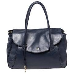 Aigner Blue Leather Flap Satchel