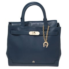 Aigner Blue Leather Turnlock Charm Tote