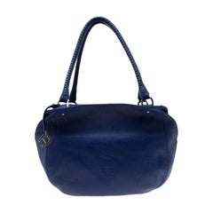 Aigner Blue Violet Leather Satchel