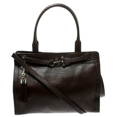 Aigner Brown Leather Cavallina Top Handle Bag