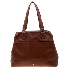 Aigner Brown Leather Dome Satchel