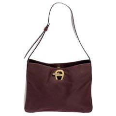 Aigner Burgundy Nylon and Leather Logo Lock Shoulder Bag