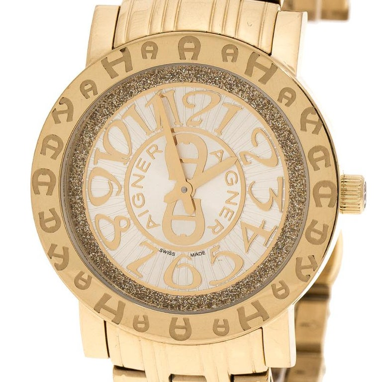 Contemporary Aigner Champagne Gold Plated Stainless Steel A26337 Women's Wristwatch 36MM For Sale