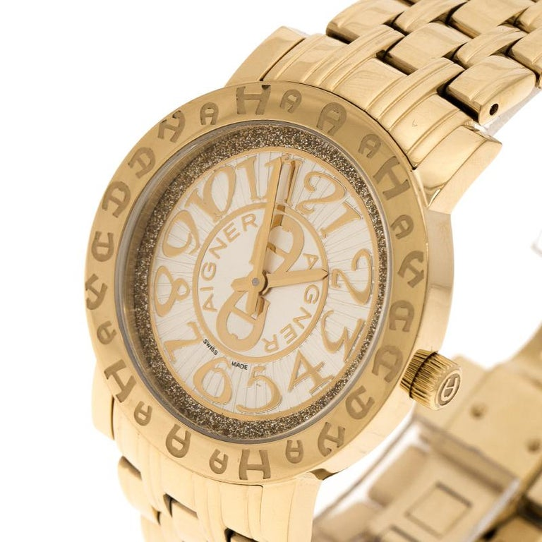 Aigner Champagne Gold Plated Stainless Steel A26337 Women's Wristwatch 36MM In Good Condition For Sale In Dubai, Al Qouz 2
