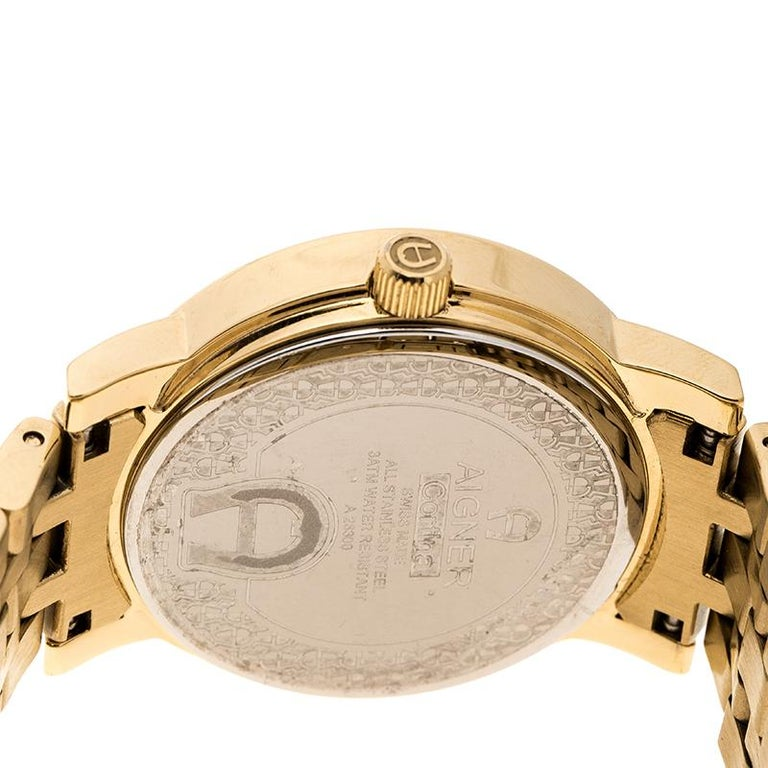 Aigner Champagne Gold Plated Stainless Steel A26337 Women's Wristwatch 36MM For Sale 1